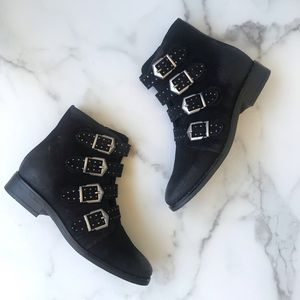 NEW Mix Mooz black suede material buckle booties